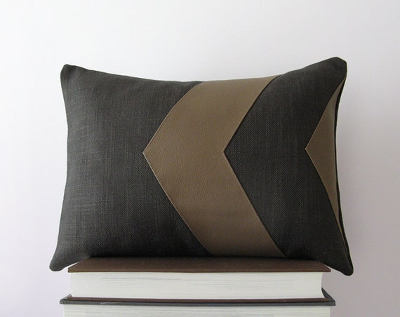 leather chevron decorative pillow in dark grey and brown. Black Bedroom Furniture Sets. Home Design Ideas