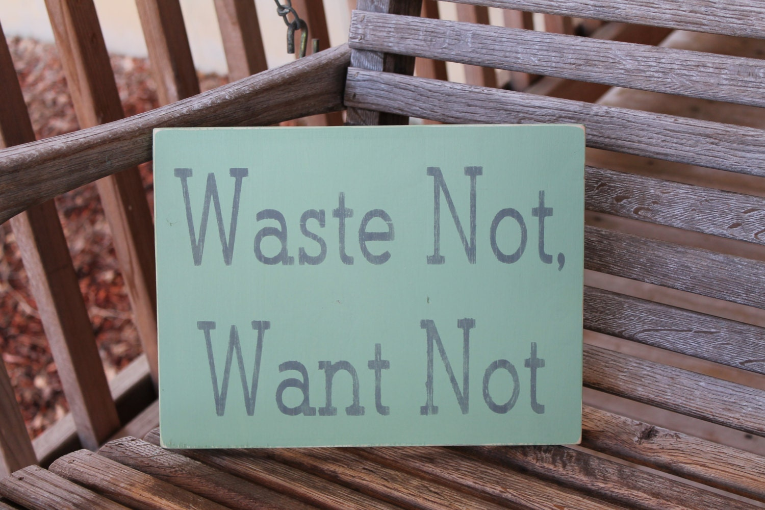 wood sign waste not want not kitchen dining room family