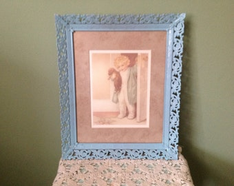 "Bessie Pease Gutmann ""Good Morning"" Card in Vintage Frame"