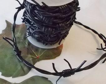 "3 feet ""Barbed wire"" Black Leather cord,"
