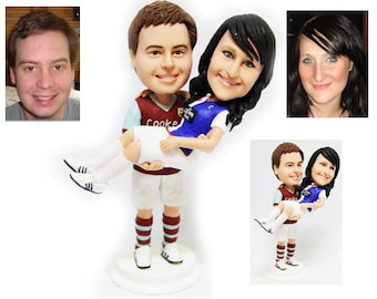 Personalised wedding cake topper - Football fans  (Free shipping)
