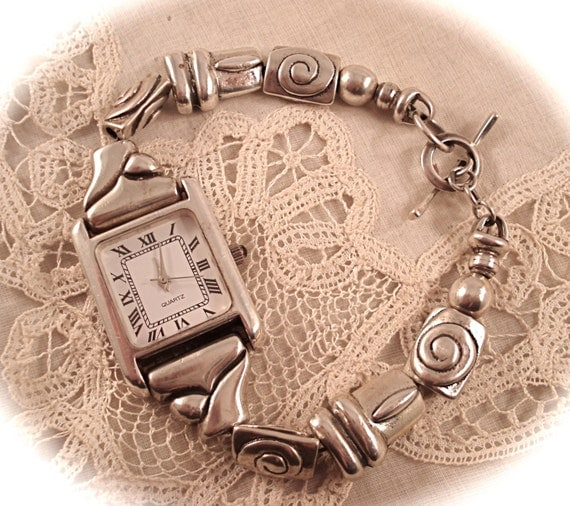 VINTAGE SURRISI WATCH Sterling Silver Beaded Bracelet Type Quartz Watch