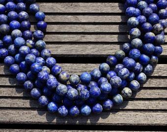Matte Lapis Lazuli 11-12mm round beads  (ETB00136)