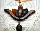 Ceramic clay lotus pendant wing pendant finished with copper bail, horsehair and black lava stone