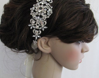 Bridal Headband,Rhinestone Headband,Wedding Headpiece,Fascinator,Wedding Hair Accessory,Ribbon Bridal Headband,wedding accessories,bridal