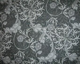 Beautiul grey on black flowers, scrolls, leaves