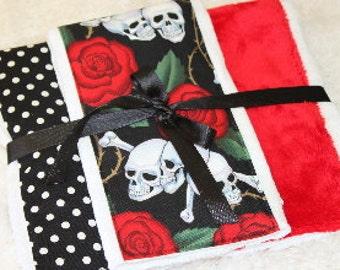 Baby Burp Cloths, Skull Burp Cloth Set,