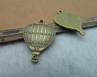 30pcs 17x25mm Antique Bronze/ Antique Silver Hot Air Balloon Ballon Charms Pendants Jewelry Findings Wholesale AC2201