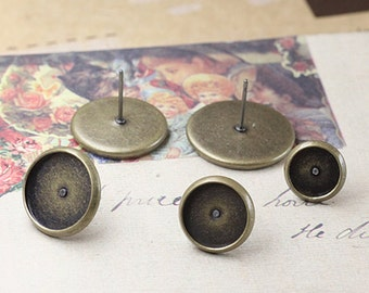 50pcs Brass Antique Bronze Post Earring with 12mm Round Bezel Cup Cabochon Mountings