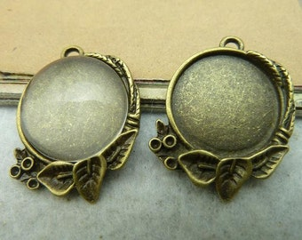 10PCS 20mm Antique Bronze Round Bezel Cup Cabochon Mountings Pendant Trays AC2922