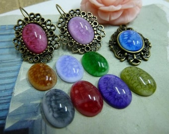 20 Oval Resin Cabochons- 10x14mm multicolor AC4529