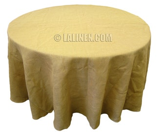 Natural Burlap Table Cover 108 Inches Round. Made in the USA