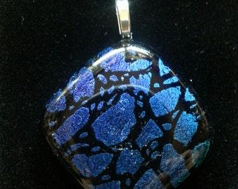 Chunky Blues Dichroic Fused Glass pendant