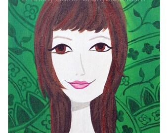 Green Pattern Chic Girl Painting Art Print -  Wall Art - Teen Girls Room Decor - Brown Eyed Girl - Whimsical Illustration