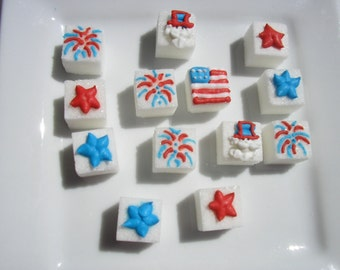 28 Pcs Decorated Sugar Cubes 4th of July Collection     Simply Darling