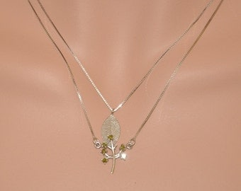 Sterling Silver Necklace, Double Layered Sterling Silver Necklace, Leaf and Tree Pendant Necklace