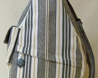Grey Striped Shoulder Bag