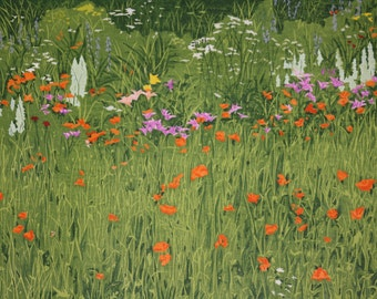 Flower Garden  Woodblock print