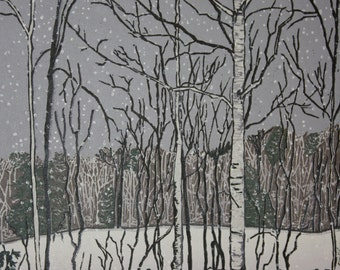 "Flurries  14"" x 20"" woodcut"