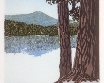 "Lakeside Pines 6"" x 5"" woodcut"