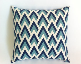 11 Sizes Available: One Navy and Aqua Geometric Double Chevron on Natural Decorative Pillow Cover Chevron Pillow accent Euro sham-5ERA