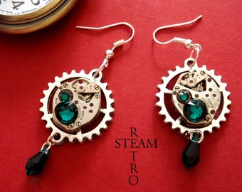 10% off sale17  Vintage watch movement Emerald Swarovski Steampunk Earrings - Steampunk Jewelry by Steamretro - Christmas present
