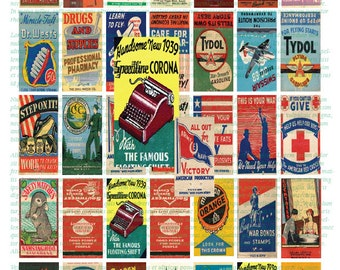 VINTAGE MATCHBOOK art- 1X2  instant download Domino sized digital print out sheet for craft projects