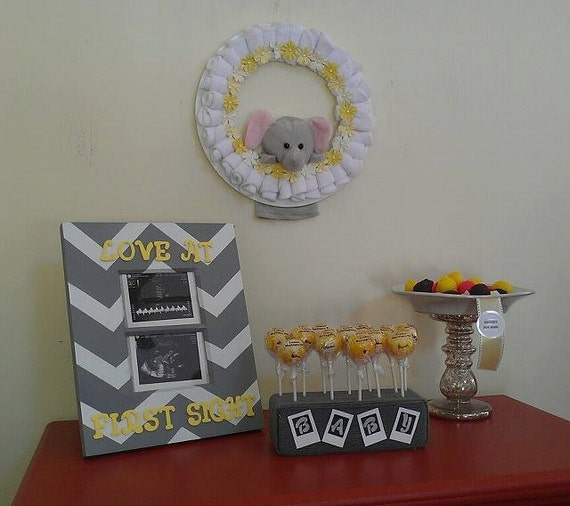 items similar to yellow and gray baby shower decorations on etsy