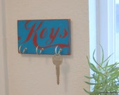 "Key Holder with Hooks.  Red & Turquoise, Hand Painted, Distressed. Kitchen. 3"" x 6""  Pine (READY TO SHIP)"
