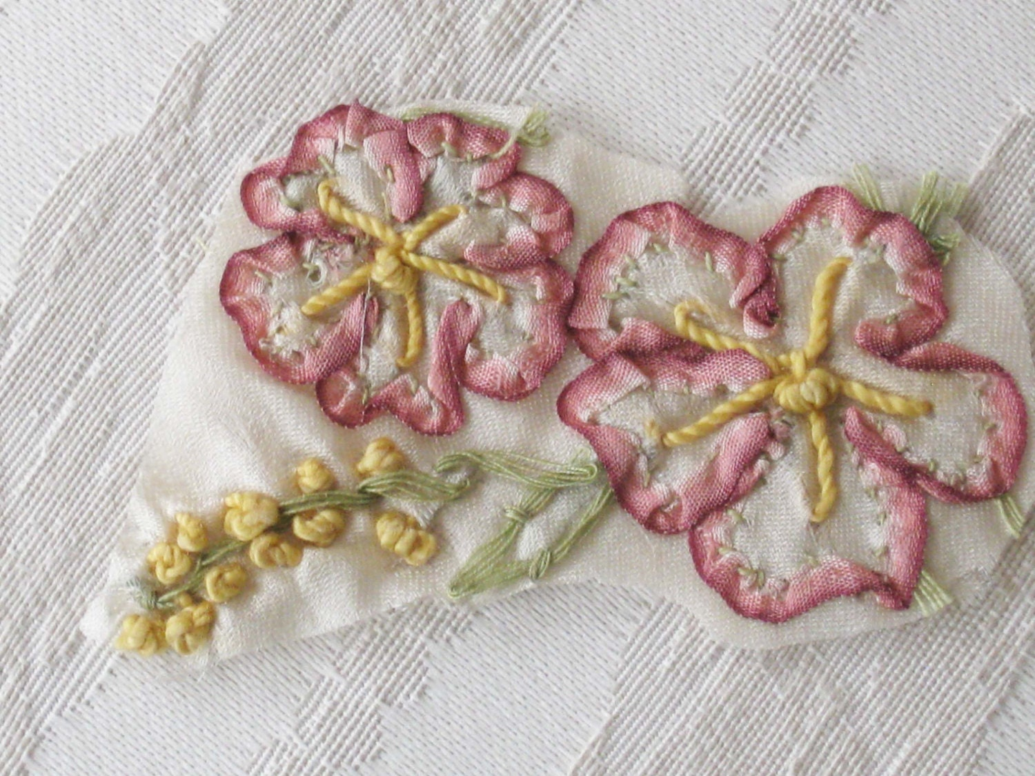 Antique ribbon work embroidery on silk
