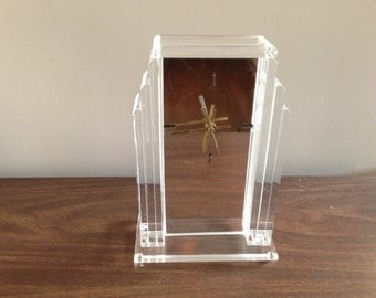 1970's Mirror Front  Deco Style  Lucite Table Clock