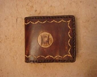 Tooled Brown Leather Kid's Wallet - Kid's Billfold - Baseball