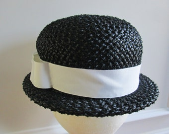 1950s Black Straw Derby Hat with Wide White Ribbon Band, Size 21