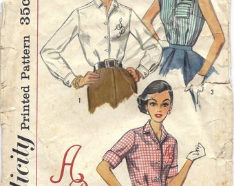 1950s Simplicity 2195 Blouse Pattern with Three Variations and Initial Transfers, Size 14, Bust 34