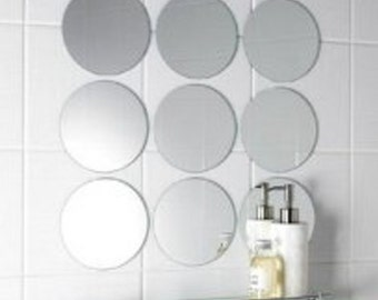 """Circle Mirrors in Packs of 10 - Mirrored Round Tiles sizes from 1cm .25"""" to 20cm 9"""" bespoke sizes made"""