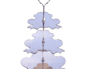 """Three Tier Silver Mirror Frog Cake Stand - Base 23cm/9"""""""