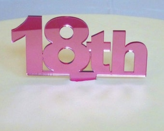 """Celebration Age Pink Mirror Cake Toppers Large 10cm/4""""  15cm inc Spike - All Ages"""