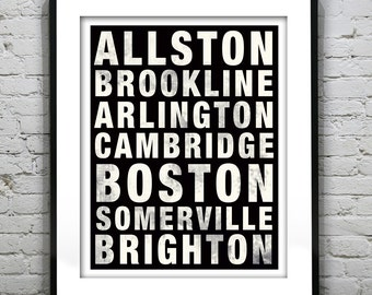Boston Poster Subway Art Massachusetts Print MA Version 41