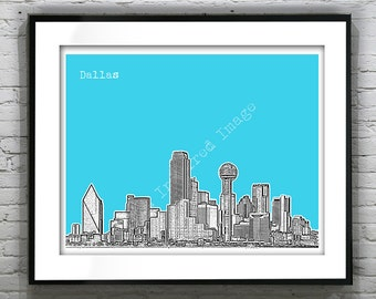 Dallas Texas Skyline Art Print Poster TX Version 1