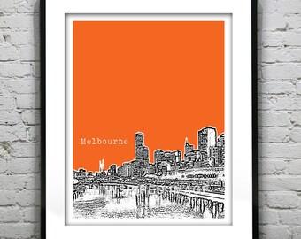 Melbourne Poster Art Print  Victoria Australia