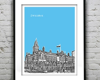 Swansea Wales Poster  Art Print UK Wales United Kingdom