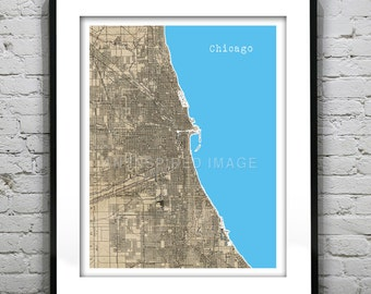 Chicago Poster Art Print Illinois Old Vintage Map