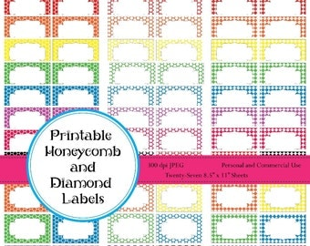 INSTANT DOWNLOAD Printable Labels, Honeycomb and Diamond Scrapbook Tags, Huge Set