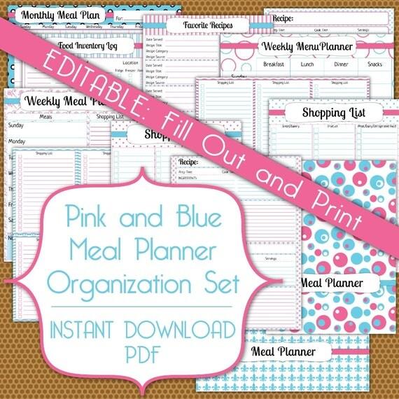 editable meal planner pdf instant download organization