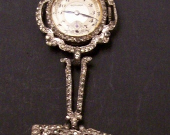 Antique Rhinestone brooch watch by Gotham