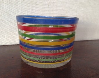 SALE..Striped glass bowl