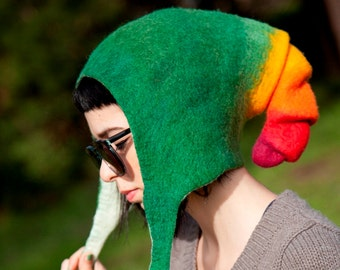 Unique handmade felt hats - Green