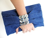Prom party clutch in electric blue, buttons accessory, sexy fashionable bag for spring summer clubbing nights, fantasy, cottage chic, fabric
