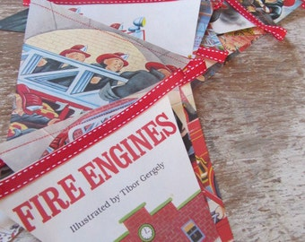 Little Golden Book Bunting - FIRE ENGINES (vintage)