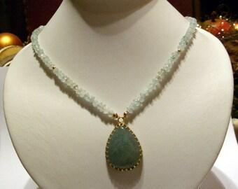 Aquamarine necklace - Aquamarinkette - Aquamarin Kette bridal necklace